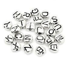 20x Distanziatore Branello Metallo Perline Lettere Mix argento antico Cuore 7 x