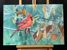 """Cardinal Red Bird Gallery Wrapped Canvas Giclee Print Art Made in USA 13 X 19"""""""