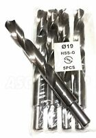 5 x 19mm Professional Drill Bits HSS-G Ground Bright - Metal Plastic Wood