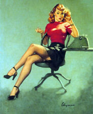 Canvas SECRETARY MADMEN pinup ELVGREN pin-up DECO stockings upskirt sheer nylon