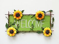 "Metal Rustic Sunflower Welcome Hanging Sign Garden Wall Door Decor 16.5""X10"""