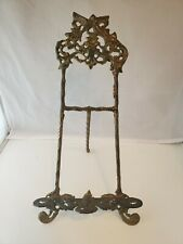 "Vintage Ornate Large 13"" Tall Brass Gold Folding Easel Book Art Display Stand"