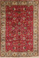 VINTAGE All-Over Floral RED Oriental Area Rug Signed Hand-made WOOL Carpet 7x10