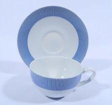 Maison Strauss Porcelain große Tasse mit Untertasse Dekor blaue Streifen mehrere