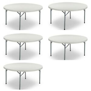 """(5 Pack) 60"""" Round Commercial Quality Plastic Folding Tables - Banquet tables"""