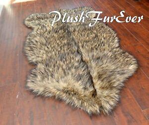 """PlushFurEver 58"""" x 84""""  Large Black Tip Sheepskin Area Rug Plush Medium Fur Rugs"""