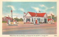 WHITE HORSE SERVICE GAS STATION U.S. 20 IRVING NEW YORK POSTCARD (c. 1940s)