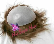 V Looped Thin Skin PU Men Toupee  Human Hair Hair Piece Replacement