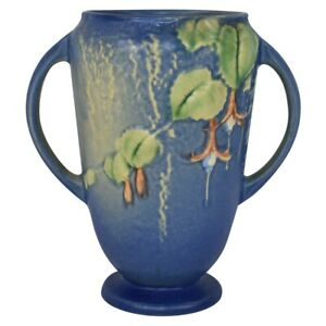 Vintage Roseville Pottery Fuchsia 1938 Blue Vase 893-6
