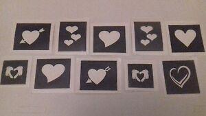 30 x heart mini small stencils for glitter tattoos / airbrush  love Valentines