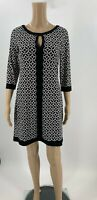 White House Black Market Dress Size XS 3/4 Sleeve Notch neck Geo Print Shift A3
