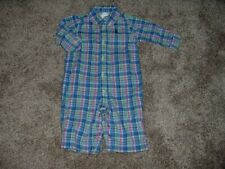 Ralph Lauren Baby Boy Blue Plaid One-Piece Outfit Size 3M 3 Months Fall RL EUC
