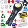 Magnetic Portable Rechargeable T6 LED COB Worklight USB Flashlight 18650 Torch