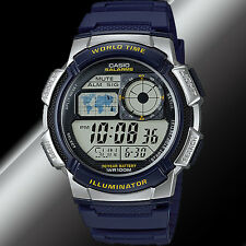 Casio AE-1000W-2A Digital Map Blue Watch 10 Year Battery World Time 5 Alarms New