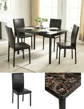 5 Piece Dining Set Faux Marble Table Top & PU 4 Black Chairs Living Room Kitchen