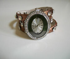 Bronze Wrap Around Watch with Bling Sparkly Rhinestones Crystals