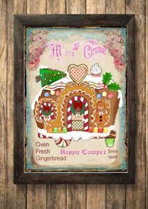 Christmas Gingerbread Caravan Sign,Picture Sleigh Wall Decor,a4 Unframe Vintage