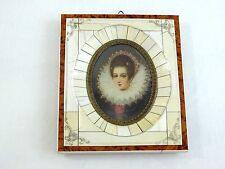 ANTIQUE MINIATURE PAINTING PORTRAIT YOUNG WOMAN HAND PAINTED ARTIST SIGNED #1