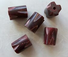 5 Pieces Large Carved Notched Red Horn Chunky Round Barrel Beads 18x25mm