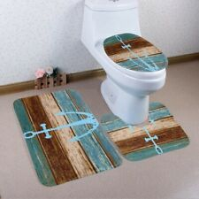 3Pcs Bathroom Non-Slip Set Anchor Pattern Pedestal Rug Bath Lid Toilet Cover Mat