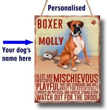 Boxer On Board Blue Personalised Dog On Board Car Safety Sign