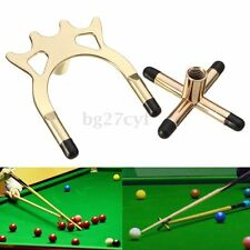 2 x Brass Cross & Spider Holder Rests For Pool Snooker Billiards Table Cue Stick