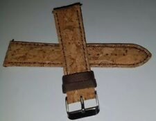 Mens RARE Natural Cork Fits Any 22mm & Smartphones Watch Band Silver Tone Buckle