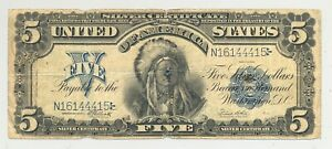 $5 Series 1899 Chief Onepapa Silver Certificate in nice condition - no reserve