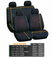 UNIVERSAL 8 PIECE CAR SEAT AND HEADREST COVER SET BLACK/RED- VLV1