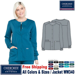 Cherokee Scrubs PROFESSIONAL Women's Medical Snap Front Warm-up Jacket WW340