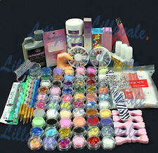 Full 60 Acrylic Powder Glitter Liquid Nail Art  Kits Set Tip Brush Glue NAK-60A