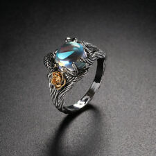 Women  Sterling Silver Ring Gold Plated Rose Engagement Band Rainbow Moonstone