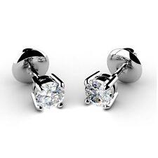 0.15 Quilates Diamante Redondo Stud Tornillo pendientes hecha a mano en 9.000 En Oro Blanco