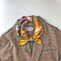 100% Silk Small Scarf Women Vintage Fly Horse Print Office Bandana Tie Band 53cm