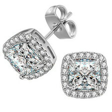 18K White Gold Plated Square Cubic Zirconia Stud Earrings