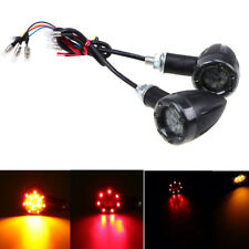 Pair Motorcycle Bullet LED Turn Signals Indicator Light for Harley Custom Black