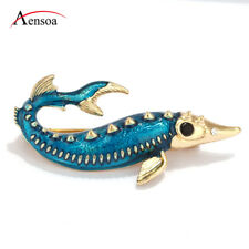 Fashion Women Cute Blue Enamel Chinese Sturgeon Fish Brooch Pins Jewelry Gifts