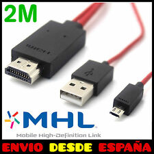 CABLE MHL MICRO USB HDMI HD TV PARA SONY XPERIA Z1 Z2 Z3 COMPACT HTC ONE LG