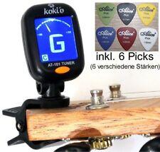 Top Stimmgerät/Clip Tuner mit Batterie + 6 Picks! Für Gitarre-Bass-Geige-Ukulele