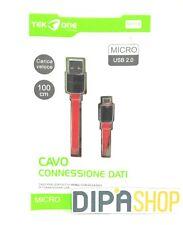 Cavo Usb TeKone 6A Dati Ricarica Plug MicroUsb Piatto Smartphone 1m Rosso hsb