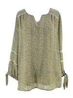 AGB Women's Light Brown Long Sleeve Split Neck Sheer Peasant Blouse Size Large