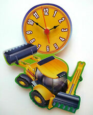 CHILDRENS JCB YELLOW DUMPER TRUCK CLOCK HAND MADE WOODEN CLOCK NURSERY CLOCK