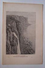 #) gravure sur bois dessin Taylor : ile de Skye, le Kilt Rock 1879