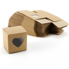 50x Hollow Heart Cube Love Rustic Laser Cut Kraft Candy Gift Boxes Party Favor