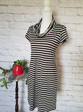 Liz Claiborne women size 4 gray black striped cowl neck bodycon stretch dress