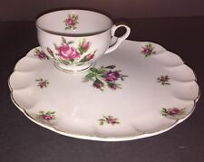 Dragon China Tea Cup And Snack Plate Set Japan Purple & Pink Rose
