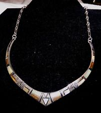 Handcrafted Sterling Silver White Opal & Tiger Eye Inlay Necklace & Earrings