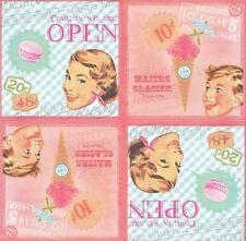 2 Serviettes en papier Rétro Glace Glacier - Paper Napkins Ice Cream