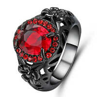 Women's Red Ruby 18K black gold filled Fashion Wedding Ring Gift Size  9