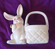 Vintage Fitz and Floyd White Bunny with Basket Figurine Handpainted